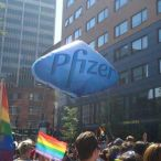 Helium inflatable Pfizer pill<br/>Gay pride parade